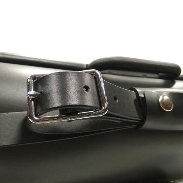 maletín compatible con bicicletas Brompton negro detalle bandolera