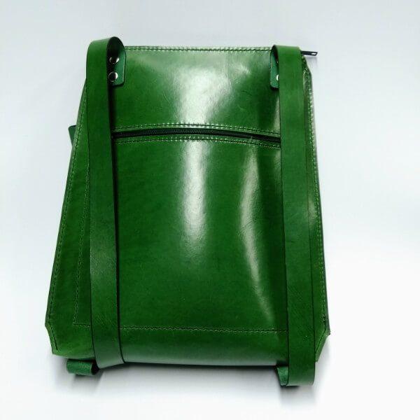 green backpack back