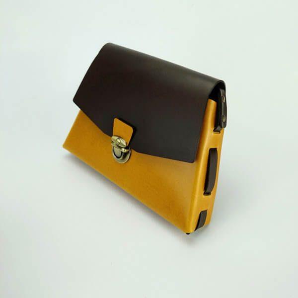 Bolso trapecio amarillo/chocolate 1