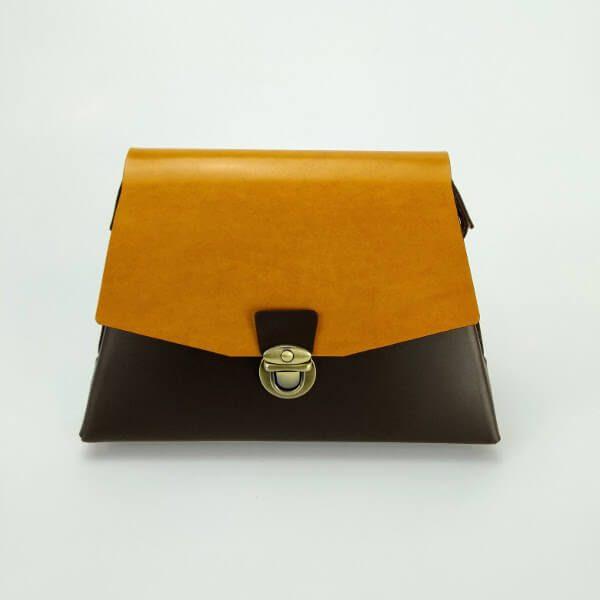 Cholate/yellow trapeze bag 2