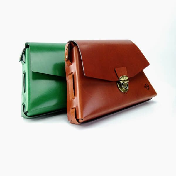 Green and brown trapeze bag