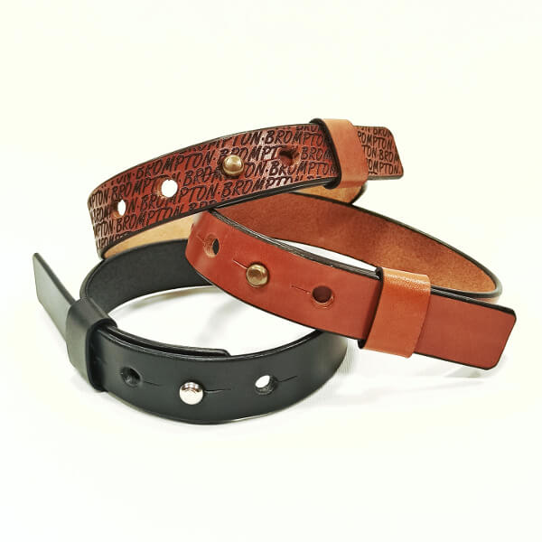Brown, black and Brompton trousers strap